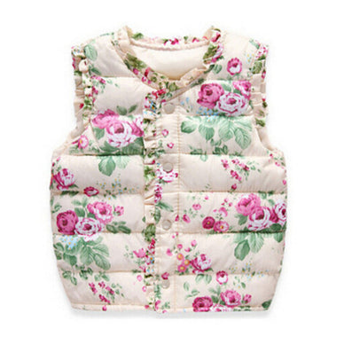 Girls Vests Children's Down Cotton Warm Vest Baby Girls Sweet Floral Waistcoat High Quality Kids Vest Outerwear 2-7 Years - CelebritystyleFashion.com.au online clothing shop australia