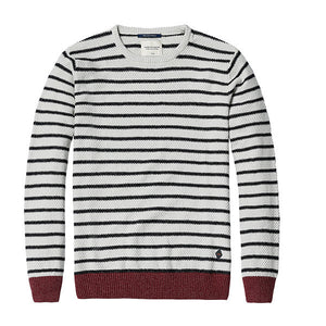 Brand new autumn winter causal striped sweater men slim fit 100% cotton kintwear MY2021 - CelebritystyleFashion.com.au online clothing shop australia
