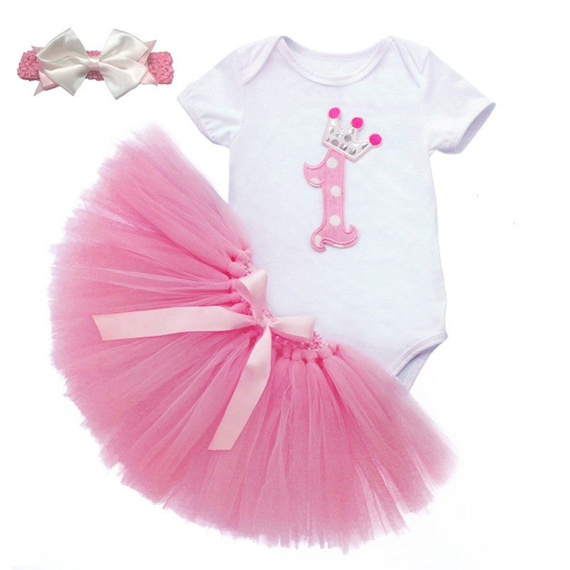 Pink / 6M3PCS New Baby Girl 1st Crown Bodysuit Headband Birthday Tutu Skirt Outfit toddler girl clothes summer Summer
