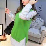 spring loose big yards female hedging sweater vest sweater vest round neck wool vest waistcoat jacket - CelebritystyleFashion.com.au online clothing shop australia