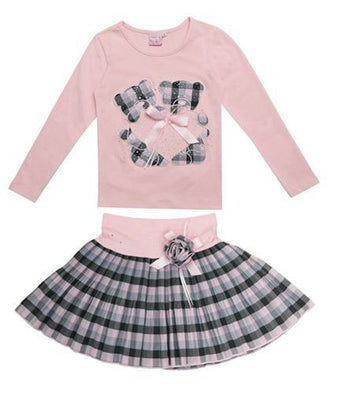 Fashion winter Boutique Outfits Sets For 2 Pcs Kids Girl Long Sleeve Cotton Shirts Tops + Plaid Tutu Skirts With Bow Sets - CelebritystyleFashion.com.au online clothing shop australia