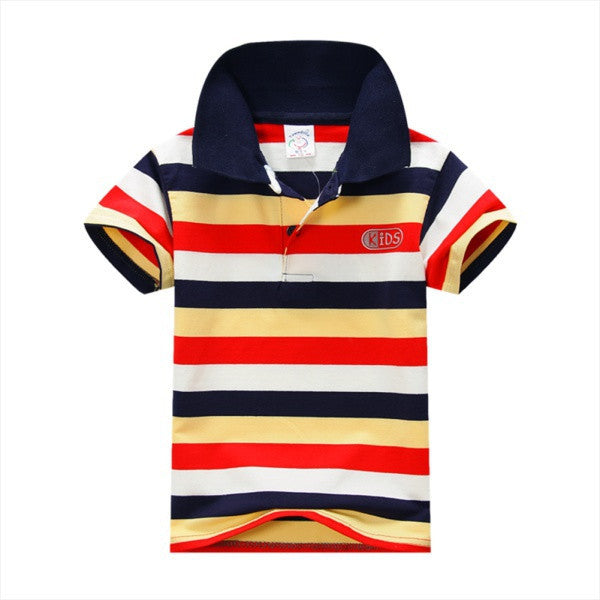 COCKCON New Summer 1-7Y Baby Children Boys Striped T-shirts Kids Tops Tee Polo Shirts ClothingFCELEBRITYSTYLEFASHION