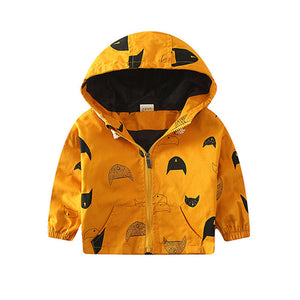 18M-6T Fashion Spring/Autumn Boys Hooded Jackets Cartoon Monster Print Outwear Good Quality Ginger Yellow Blouson Garcon CMB349 - CelebritystyleFashion.com.au online clothing shop australia