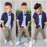 Boys Clothing Gentleman Sets Handsome Denim Children jacket + shirt + pants 3pcs/set kids baby Children suits - CelebritystyleFashion.com.au online clothing shop australia