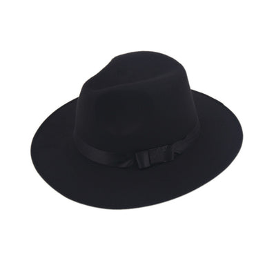 Women Men Jazz Hard Felt Bowknot Fedora Panama Bowler Wide Brim Hat Gangster Cap - CelebritystyleFashion.com.au online clothing shop australia
