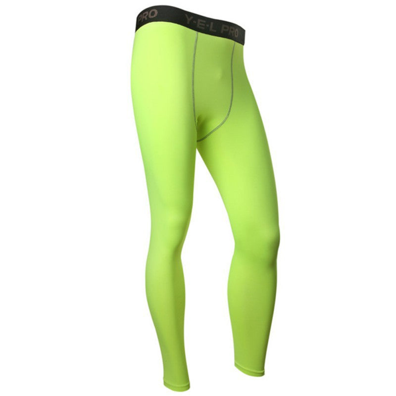 Green / LMen's Compression Pants Base Layers Skin Tight