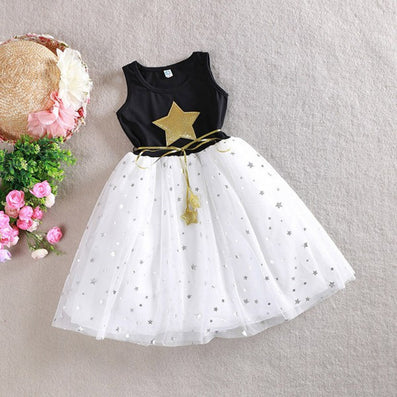 Children Kid Girls One Piece Dress Stars Sequins Tulle Bow Dress Tutu Dress - CelebritystyleFashion.com.au online clothing shop australia