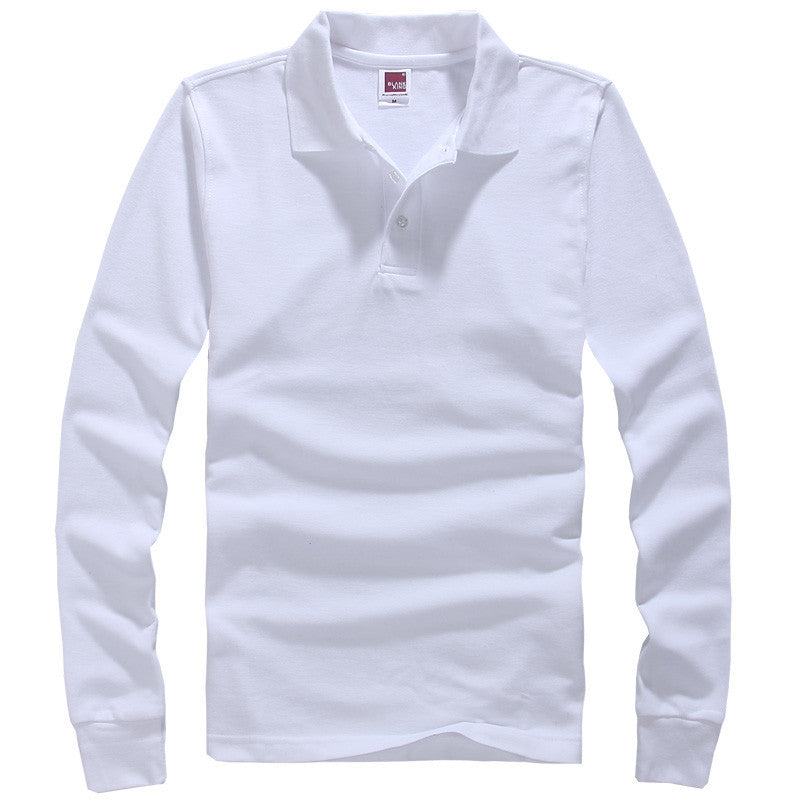 white / XSBrand Men Polo Hombre Shirt Mens Fashion Collar shirts Long Sleeve Casual Camisetas Masculinas Plus Size S-XXXL Polos Sweatshirt