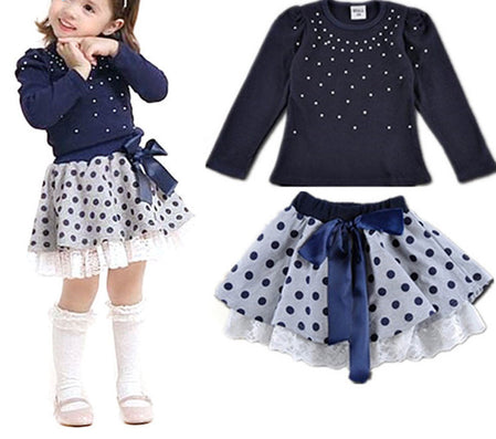 Girls' suits girls T-shirt + skirt 2pcs clothing Diamond dot bow dress children's skirt suit - CelebritystyleFashion.com.au online clothing shop australia