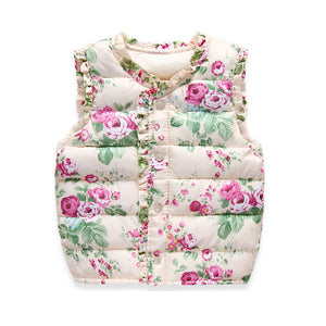 Autumn Spring Children's Winter Jackets Kids Girls Vest Sweet Floral Down Cotton Warm Waistcoat Children Clothing 2 Color - CelebritystyleFashion.com.au online clothing shop australia