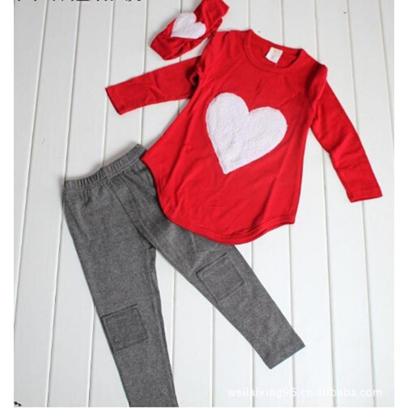 Red / 24M3pcs 1pc Hair Band+1pc Shirts+1pc Pants Children's Clothing Set Girls Clothes Suits Pink Red Heart
