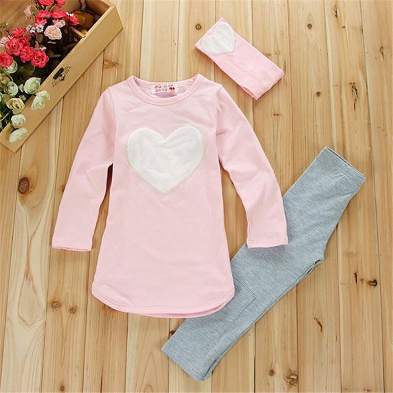 Pink / 24M3pcs 1pc Hair Band+1pc Shirts+1pc Pants Children's Clothing Set Girls Clothes Suits Pink Red Heart