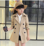 girls jacket children's clothing big kids spring & autumn child medium-long double breasted baby outerwear girl trench coat - CelebritystyleFashion.com.au online clothing shop australia