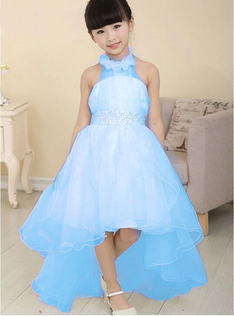 New Summer Baby Girls Party Dress Evening Wear Long Tail Girls Clothes  Elegant Flower Girl Dress a972754e494d