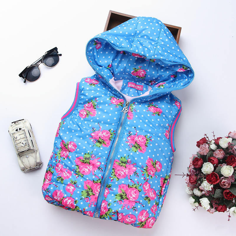 0902 Fleece Lining / 4TAutumn Girl Vests Jacket Kids Clothes Character Fashion Children Clothing Hooded Waistcoats Casual Baby Girls Vest Coats
