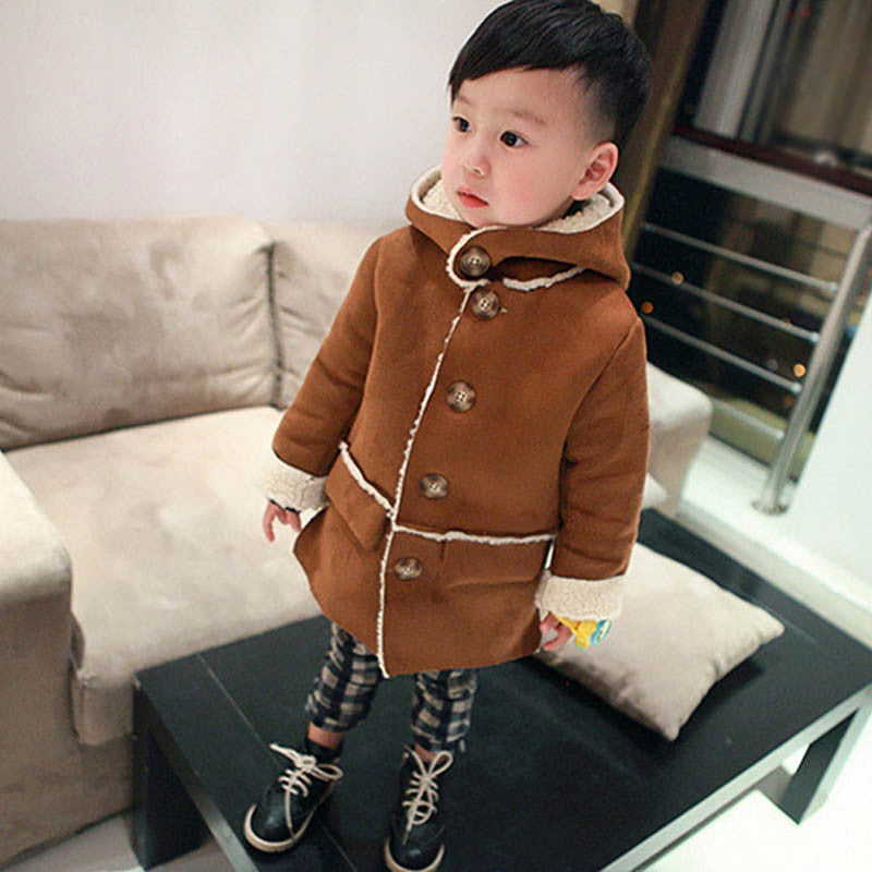 Brown 1 / 2TBoys Winter Jackets Coat Autumn Winter Kids Wool Outerwear Girl Coat Children Clothing Baby Clothes Hooded Boys Jackets