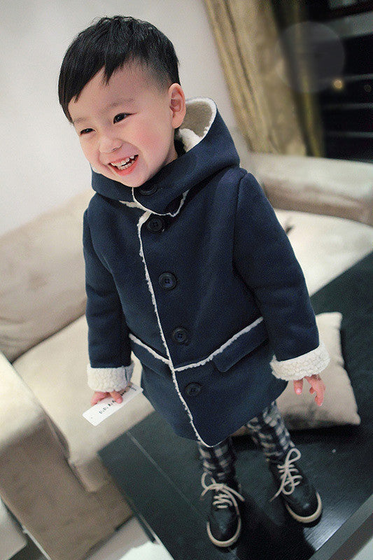 Boys Winter Jackets Coat Autumn Winter Kids Wool Outerwear Girl Coat Children Clothing Baby Clothes Hooded Boys JacketsNavy blueCELEBRITYSTYLEFASHION
