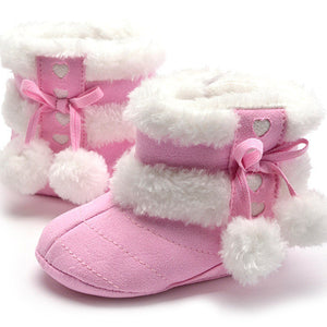 Cute Ball Winter Boots Fashion Soft Bottom Baby Moccasin Baby First Walkers Baby Warm Boots Non-slip Boots for Baby Girls - CelebritystyleFashion.com.au online clothing shop australia