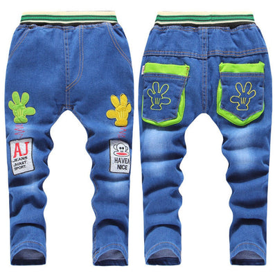 Kids Jeans Elastic Waist Straight Cartoon Jeans Denim Long Pant Retail Boy Jeans 12 Types WB114 - CelebritystyleFashion.com.au online clothing shop australia