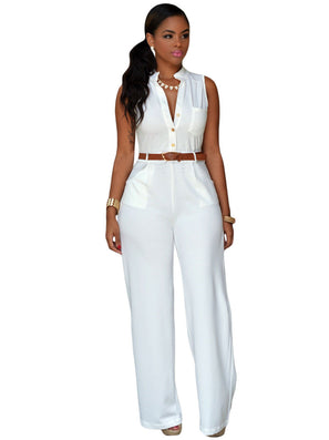 Jumpsuit Long Pants Women Rompers Sleeveless 2XL V-neck Belt Solid Sexy Night Club Elegant Slim Jumpsuits Overalls - CelebritystyleFashion.com.au online clothing shop australia