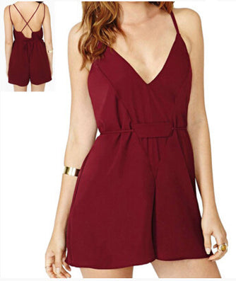 New Deep V-Neck Jumpsuit Sexy Spaghetti Strap Backless Chiffon Red Rompers Shorts Pants - CelebritystyleFashion.com.au online clothing shop australia