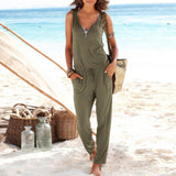 Summer Playsuit Rompers Womens Jumpsuit Sexy Beach Party Deep V Neck Zipper Sleeveless Slim Long Plus Size Overalls - CelebritystyleFashion.com.au online clothing shop australia