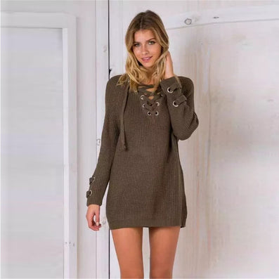 Fashion Knitted Sweater Women winter sexy V-NECK long sleeve Lace up long pullover ladies causal solid loose top plus size - CelebritystyleFashion.com.au online clothing shop australia