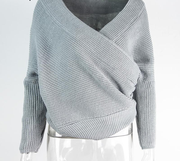 f553e903d43 V neck sweater women Autumn winter loose long batwing sleeve sweater tops  Fashion pullovers thin sweaters