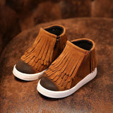 Spring Autumn Winter child/girl/kid motorcycle boots nubuck leather martin boots fringe flats shoes zip solid color short boots - CelebritystyleFashion.com.au online clothing shop australia
