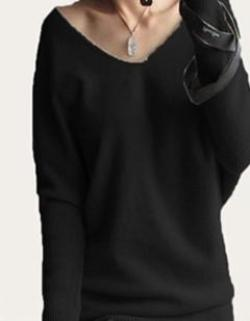 autumn winter cashmere sweaters women fashion sexy v-neck sweater loose 100% wool sweater batwing sleeve plus size pullover - CelebritystyleFashion.com.au online clothing shop australia