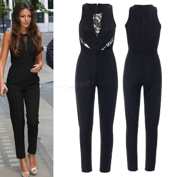 5261442a9c0 Rompers Womens Jumpsuits Sexy Black Bodycon Jumpsuit Sleeveless Slim  Overalls for Women Lace Splicing Long Pants
