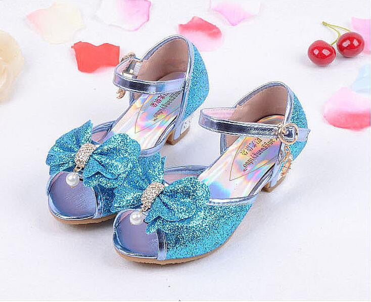 e77ee50ee7c Children Princess Sandals Kids Girls Wedding Shoes High Heels Dress Shoes  Party Shoes For Girls Pink Blue Gold B004