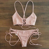 Sexy Lace Floral Mesh Hollow Out Women Bikini Cut Bikinis Retro Swimwear Brazilian Biquinis Strap Bandage Swimsuits - CelebritystyleFashion.com.au online clothing shop australia