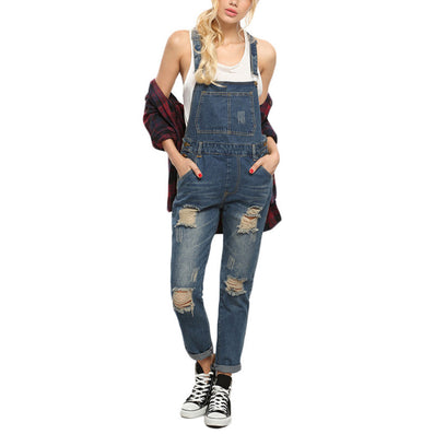 Women Rompers and Jumpsuits for Summer New Casual Sleeveless Straps Ripped Blue Denim Pockets Overall Jumpsuit - CelebritystyleFashion.com.au online clothing shop australia