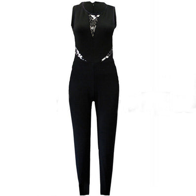Bodycon Jumpsuits Womens Sleeveless Lace Patchwork Rompers Playsuits Black Pants Plus Size XS-4XL - CelebritystyleFashion.com.au online clothing shop australia