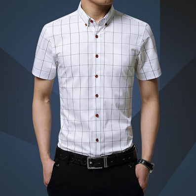 Casual Men Shirt New Plaid Short-sleeved Men's Shirts Slim Fit Cotton Fashion Social Chemise Homme 5XL MC0369 - CelebritystyleFashion.com.au online clothing shop australia