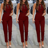 New Brand Bodycon Jumpsuits Fashion Womens Sleeveless Lace Patchwork Rompers Playsuits Black Wine Red Plus Size XS-4XL - CelebritystyleFashion.com.au online clothing shop australia