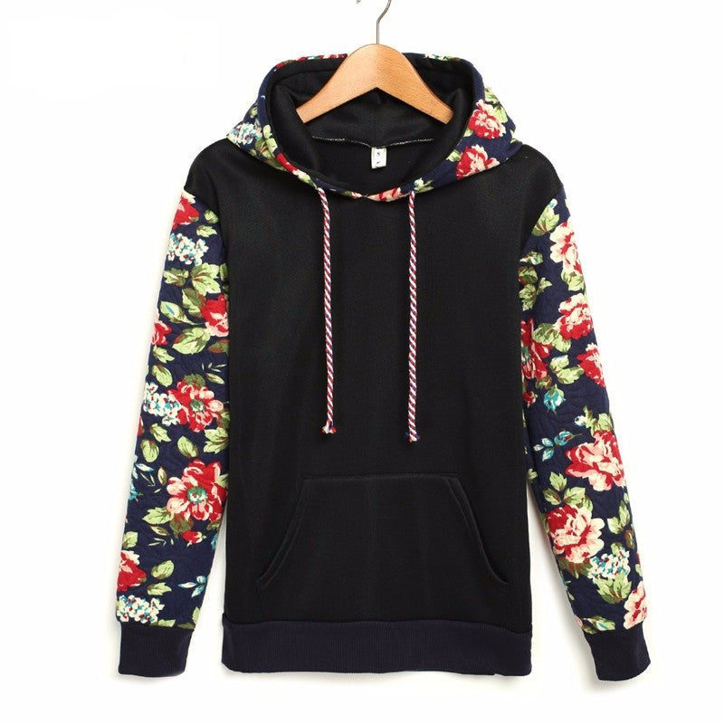 Black / LAutumn Winter Women Casual Thick Warm Floral Printed Hoodies Sweatshirts Long Sleeve Hooded Long Coat Jackets