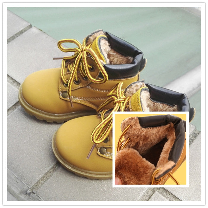 f24b99dfe Comfy kids winter Fashion Child Leather Snow Boots For Girls Boys Warm  Martin Boots Shoes Casual