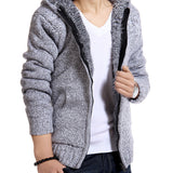 Jacket Men thick velvet cotton hooded fur jacket men's autumn padded knitted casual sweater Cardigan coat Spring Outdoors parka - CelebritystyleFashion.com.au online clothing shop australia