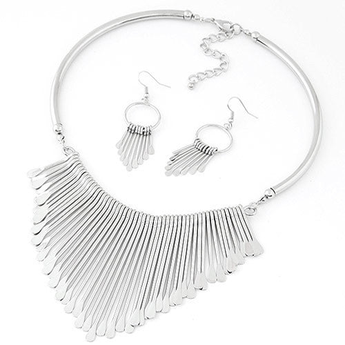 silverFashion Europen Bijoux Jewelry Set Trendy Chunky Tassel Necklaces & Pendants Jewelry Sets Women Earing and Necklace Sets