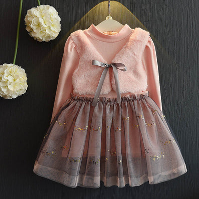 Girls Dress New Winter Dresses Children Clothing Princess Dress Pink Long Sleeve Wool Bow Design Girls Clothes - CelebritystyleFashion.com.au online clothing shop australia