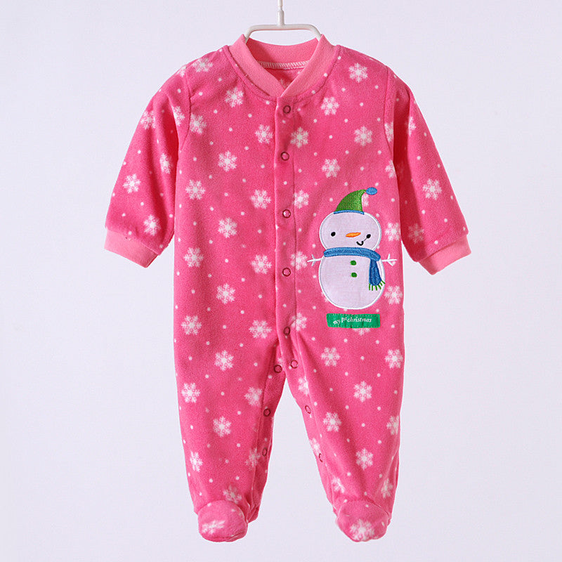 pink snowman / 0-3 months0-12M Baby Boy Rompers Blue Star Horse Baby Rompers Long Sleeves O-Neck Fleece Giraffe Baby Clothing Character Pattern V20