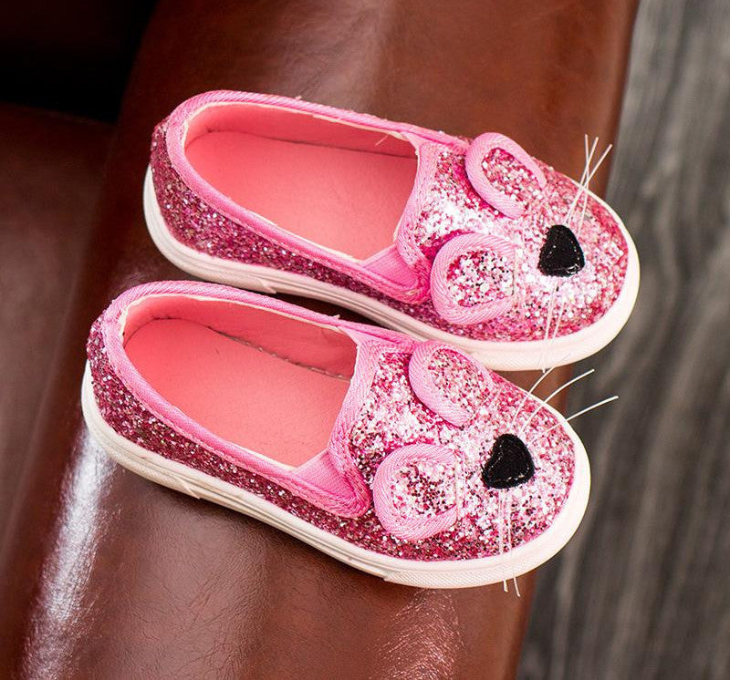 New arrive Fashion Baby Kids Sequins Cartoon Mouse Casual Shoes For Girls Chlidren Footwear size 21-30 Flats bling shoespinkCELEBRITYSTYLEFASHION