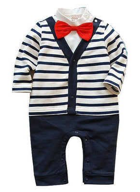Keelorn Baby boy clothes Autumn male baby cotton gentleman bow tie long-sleeved shorts babys clothing sets One-piece romper - CelebritystyleFashion.com.au online clothing shop australia