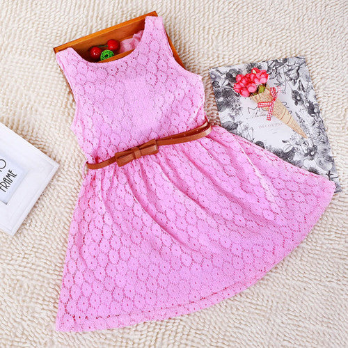 pink / 2T2-8 Years New Gift Summer Lace Vest Girls Dress Baby Girl Cotton Dress Chlidren Clothes Kids Party Clothing For Girls Free Belt