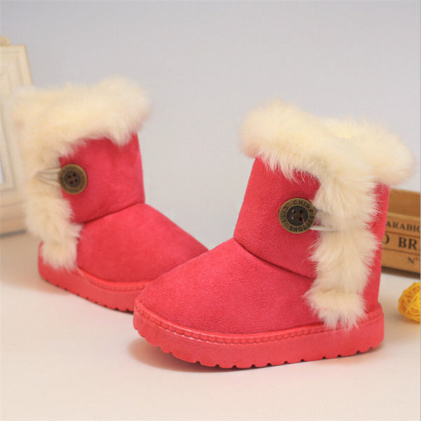 3c332214a Winter Children's Boots Brown Plush Flat With shoes Baby Kids Boys Girls  Boots cotton fabric Boot
