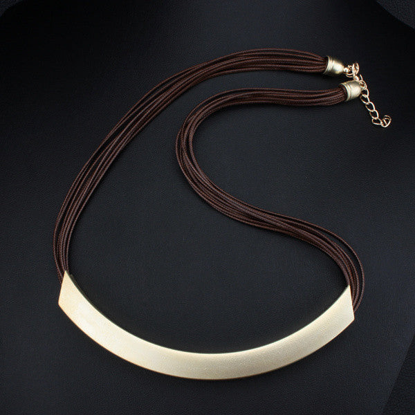Coffee RopeFree Shipping Vintage Alloy Circle Pendant Lots of Black Leather Chain Statement Necklaces Fashion Jewelry For Ladies JJ97