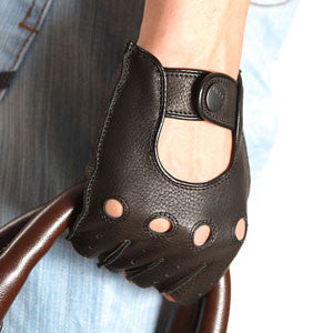 Fashion Men Deerskin Gloves Wrist Half Finger Driving Glove Solid Adult Fingerless Mittens Real Genuine Leather Limited - CelebritystyleFashion.com.au online clothing shop australia