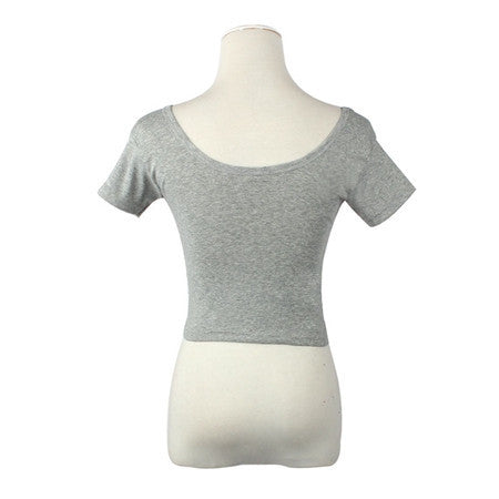 Short Sleeves Tops Sexy Women Basic Tees Cropped Tops Fashion Slim Brand Fitting Tank Tops Corset ClubweargrayOne SizeCELEBRITYSTYLEFASHION